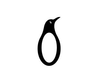 0企鹅企鹅图标动物北极卡通可爱数字0白色黑白